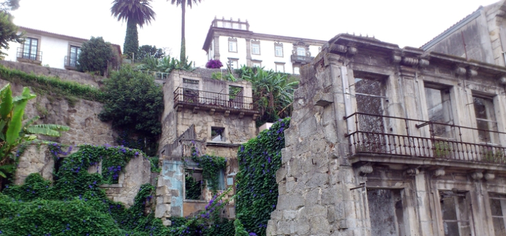 Einige von wilden Blumen überwachsene Häuser in Porte